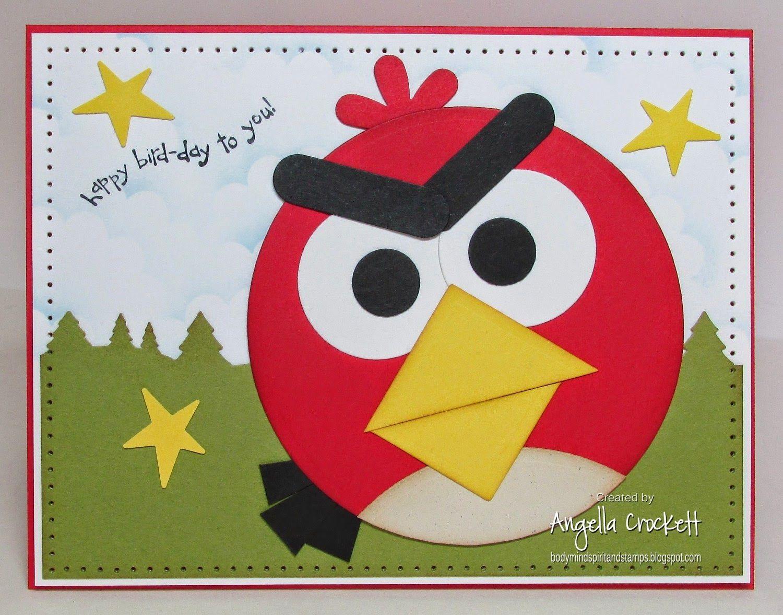 Body Mind Spirit And Stamps Angry Birds Birthday Punch Art Cards Bird Birthday Handmade Birthday Cards