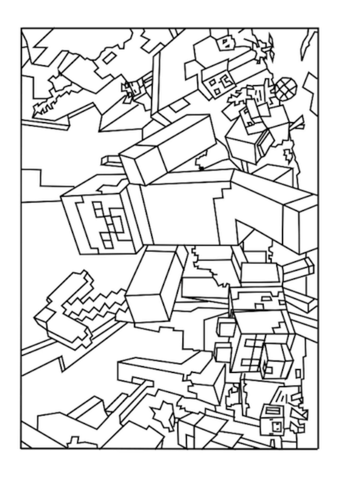 A Minecraft World coloring page Minecraft Bday Pinterest