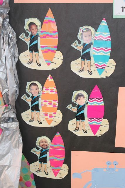 Making patterned surfboards using AB or AABB patterns. Ocean and Summer Theme in PreK. Skills: Patterns, Stripes and Solids, following directions. - -