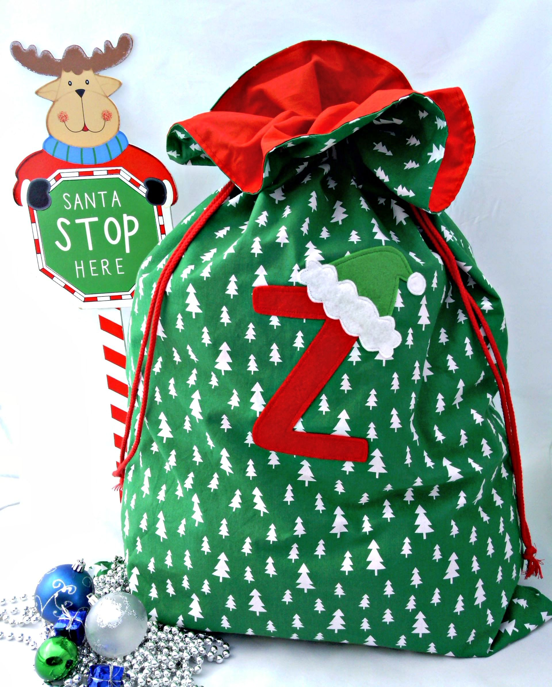 Personalised Nose Reindeer Green Christmas Present Santa Sack Mail Post Bag