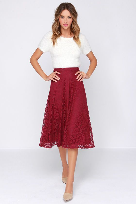 Women/'s Fashion Black High Waist Skirt Lace Knee Length Casual Dressy Flare Fit