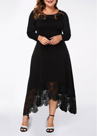 Photo of Plus Size Lace Panel Asymmetric Hem Dress