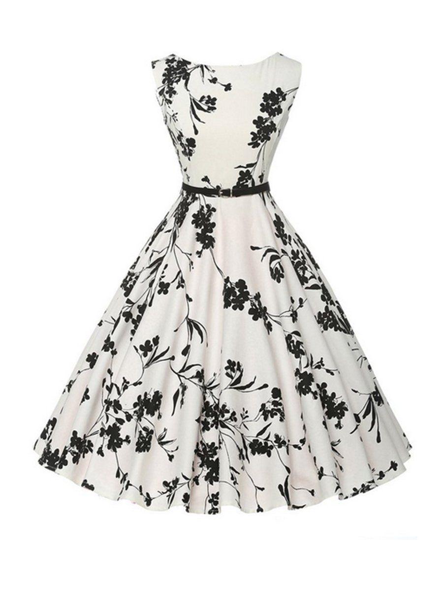 Chic Printed Boat Neck Skater Dress In 2021 White Vintage Dress Vintage Tea Dress Vintage Rockabilly Dress [ 1200 x 900 Pixel ]