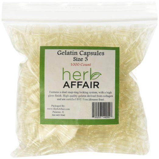 Herb Affair Quot Size 3 Quot Clear Empty Gelatin Capsules 1000 Count Smaller 150 300 Mg Gelatin Capsules Capsule Gelatin