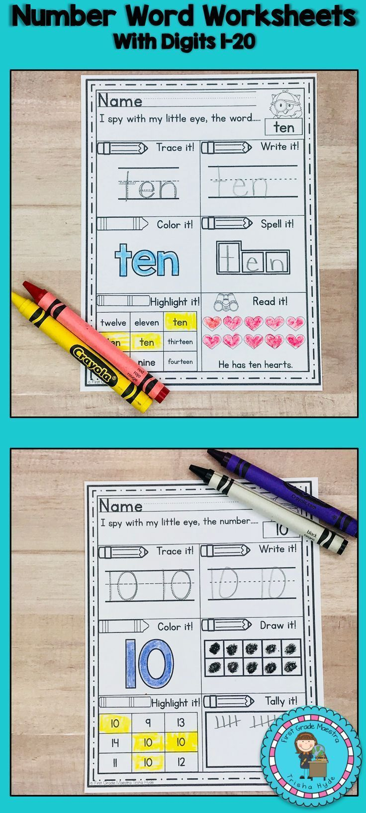 Number Words and Digits Worksheets | First Grade Maestra May ...