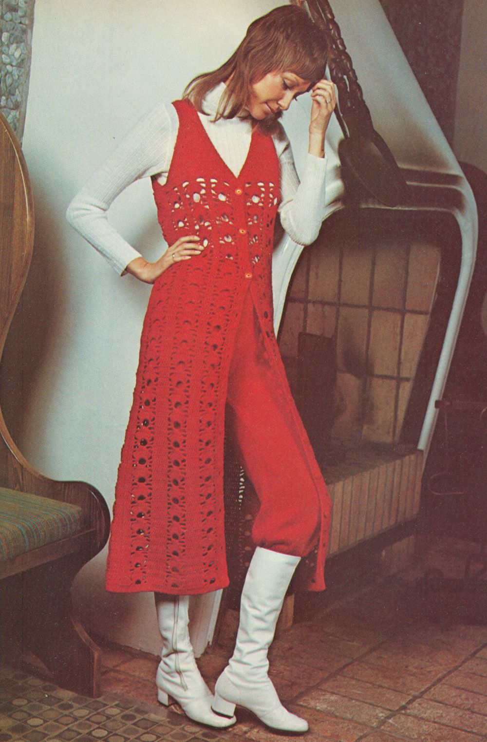 Gogo boots and crocheted long vest surcoat and knitted pair of