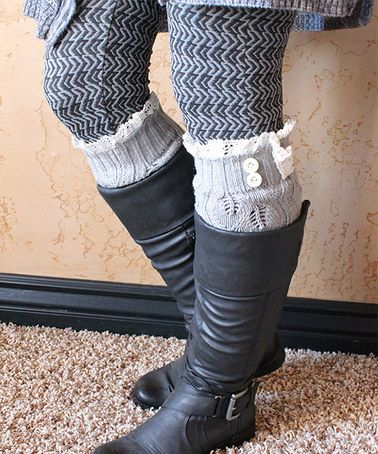 Another great find on #zulily! Light Gray & White Ruffle Leg Warmers by Beadsbee Boutique #zulilyfinds