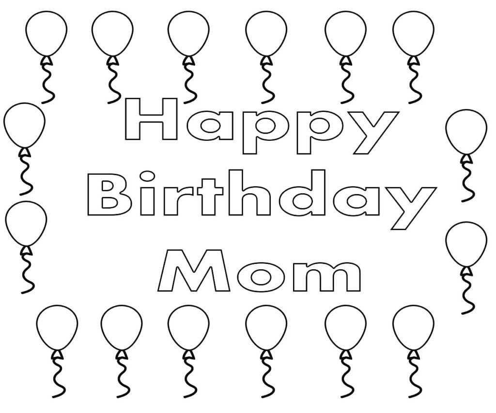 Happy Birthday Mom Coloring Page in 2020 Mom coloring