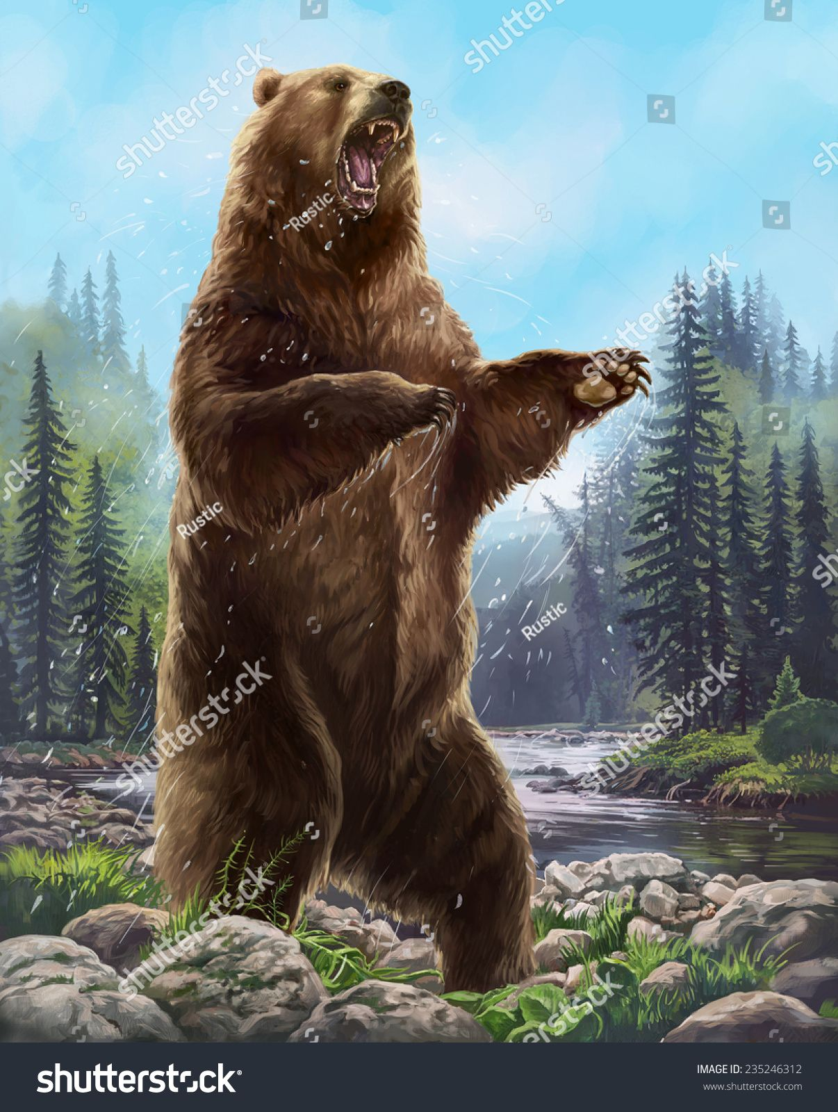 Aggressive Bear Raster Illustration Bear Images Bear Bear