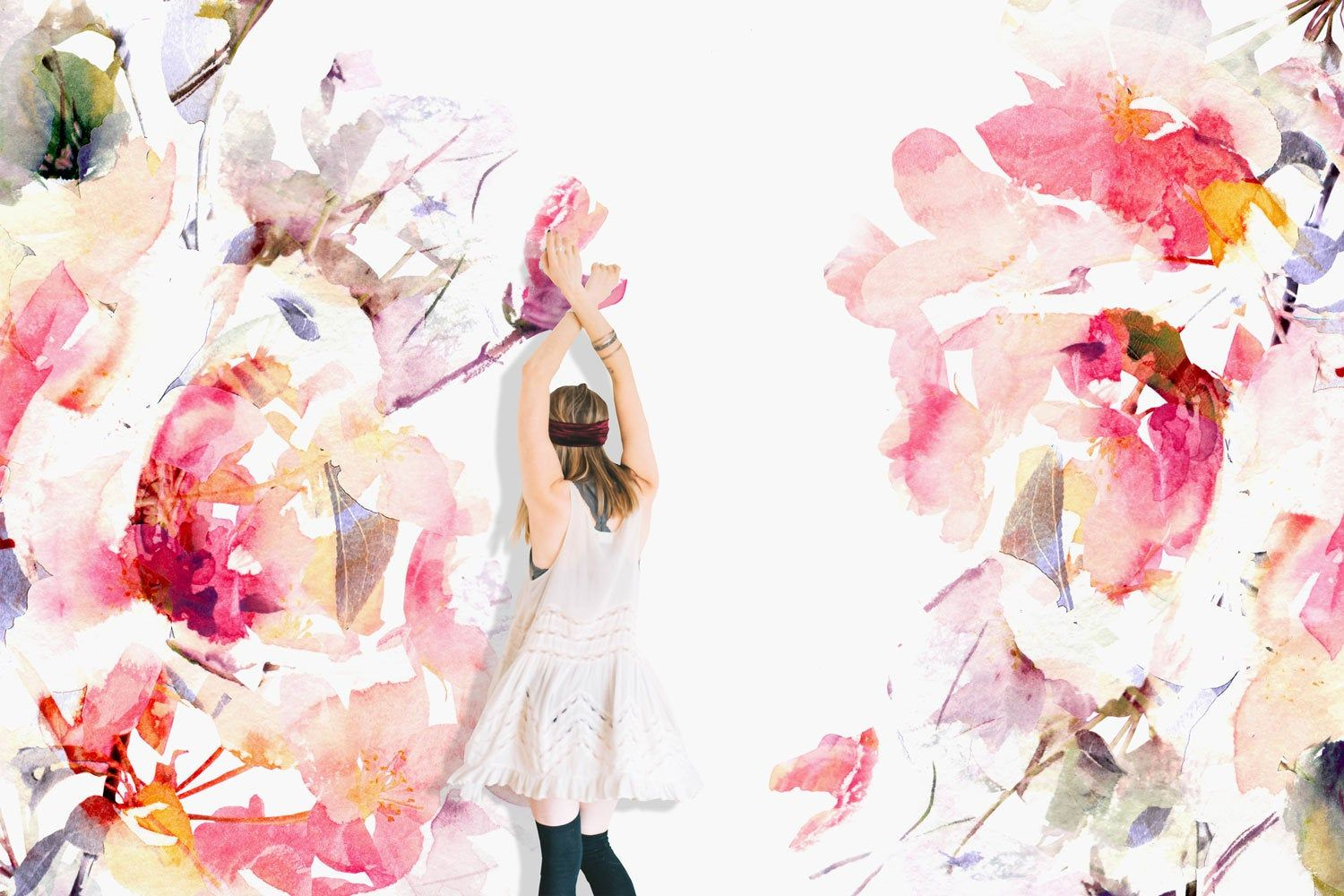 Boho Chic Pale Pink Floral Wall Mural Watercolor Flowers