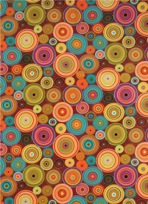 Tissu Michael Miller marron, ronds décorés, aurore boréale