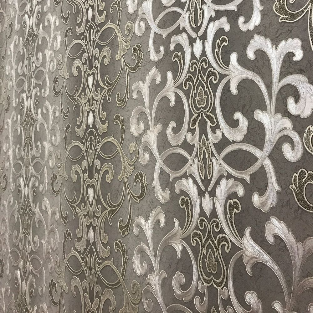 Wallpaper non woven wallcoverings modern damask gray - Papel de pared moderno ...