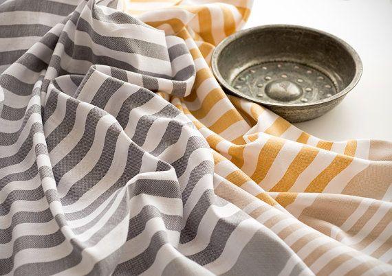 Su Turkish Towel Set of 2, Pestemal, Fouta, Beach Towel, Bath Towel, Grey and Yellow
