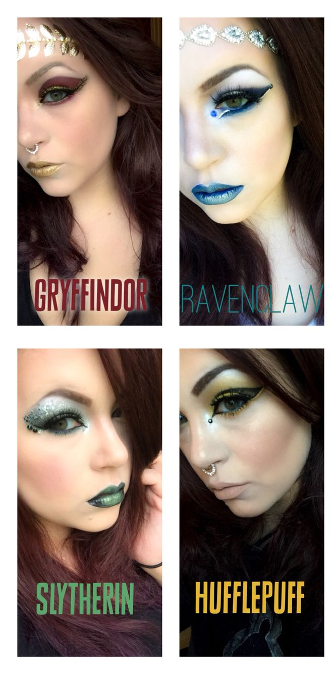Harry Potter makeup!! All four houses, Gryffindor, Ravenclaw, Slytherin, Hufflepuff.