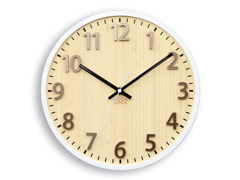 Bambo Wall Clock Florence Silent Clock With White Frame Unique Wall Clock 30cm 11 82
