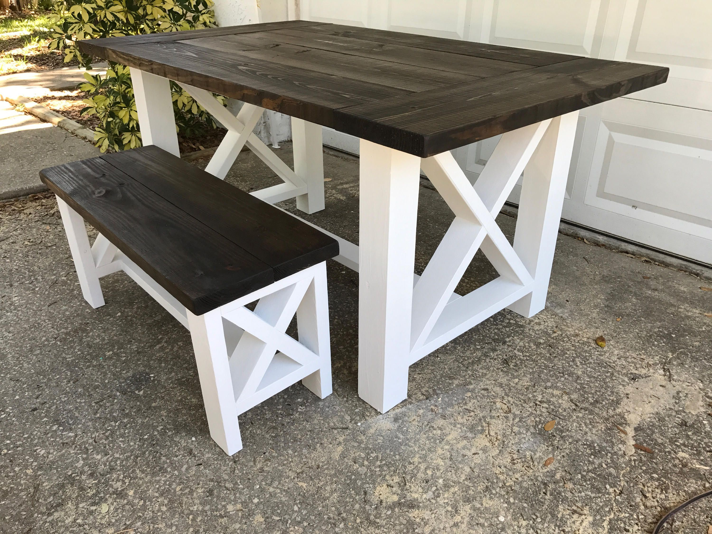 X Style Farm Table And Bench Farmhouse Kitchen Tables Diy