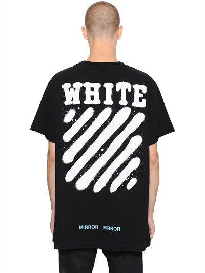98119b7020d OFF-WHITE SPRAY STRIPES COTTON JERSEY T-SHIRT, BLACK. #off-white #cloth #t- shirts