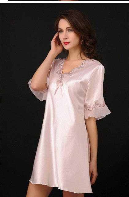 d2d9015586 Nightgown Pijama Victoria Sexy Silk Night Dress Lace Plus Size Short Sleeve Pyjamas  Women Nightwear Sleepwear Nuisette Femme