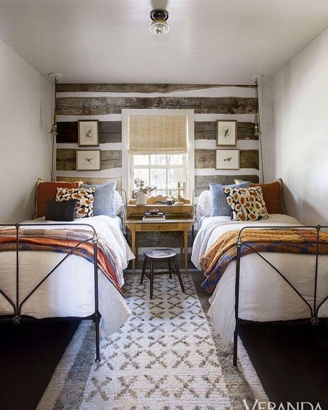 #verandamagazine Nice Guest Room. #tennessee #exposedbeams