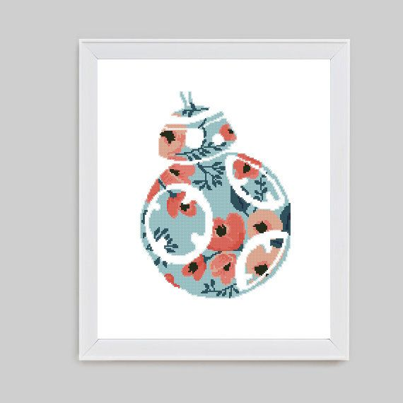 Floral BB 8 droid cross stitch Star wars silhouette wall decor easy ...
