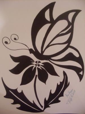 Tribal butterfly and flower drawing mm mqg challenge idea