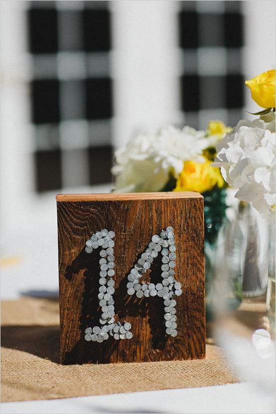 Wedding Ideas: The Industrial-Style Soirée - wedding table number idea;  Nick Radford Photography via Wedding Chicks