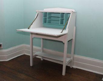 antique secretary desk white distressed aqua interior beach cottage coastal