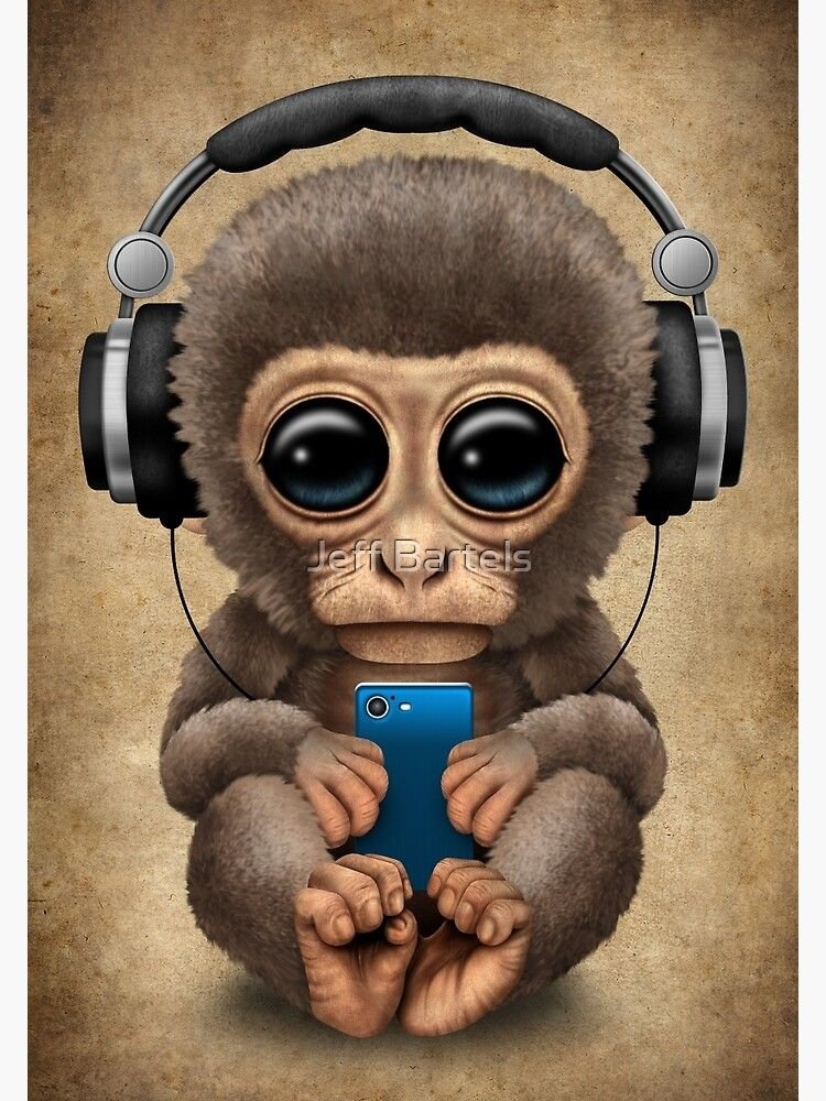 Cute Baby Monkey With Cell Phone Wearing Headphones Photographic Print By Jeffbartels Redbubble In 2021 Cute Baby Monkey Cute Monkey Baby Monkey Cute baby monkey cartoon wallpaper