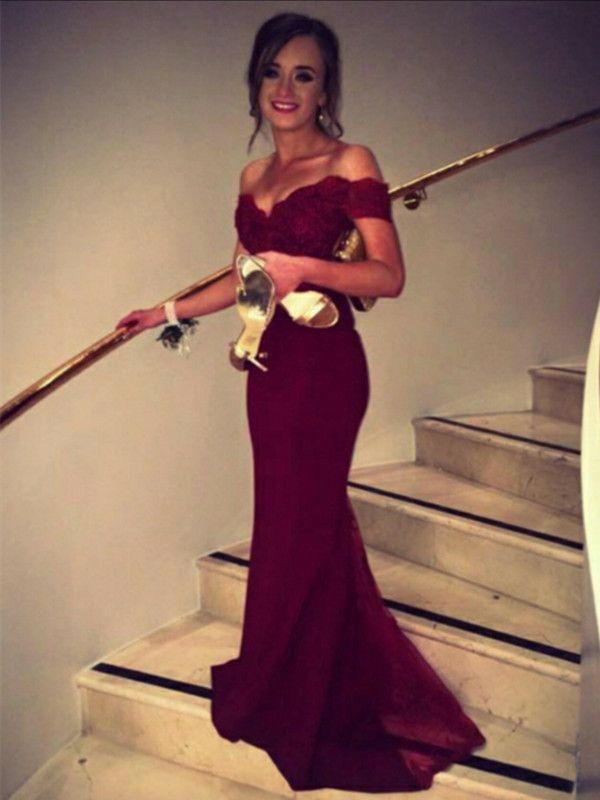 Custom Made Sweetheart Neck Off Shoulder Burgundy Lace Prom Dress