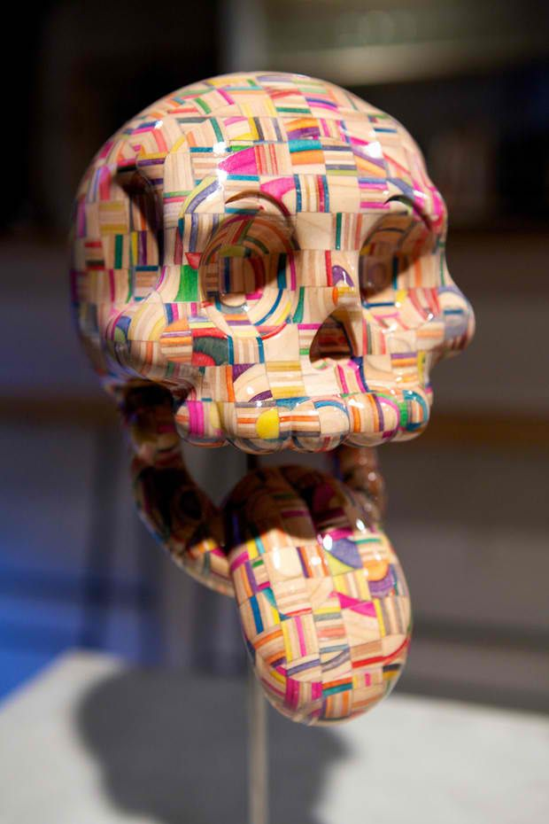 Old Skateboards Stacked, Shaven, & Polished Into Colorful Wooden Mosaic Sculptures