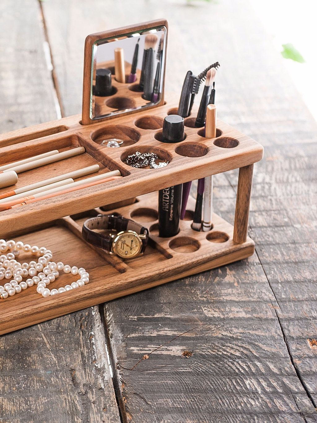 Wooden Makeup Organizer Beauty Station Is The Best Gift For Her