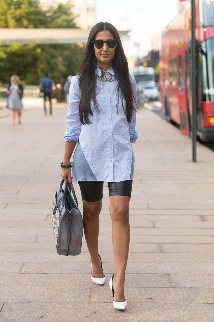 button down shirt 2017 with cute necklace and leather shorts