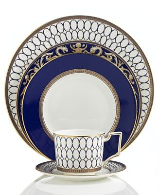 Wedgwood Renaissance Gold\  Dinnerware Collection - Wedgwood Fine China Dinnerware - Dining Entertaining - Macys  sc 1 st  Pinterest : blue china dinnerware sets - pezcame.com