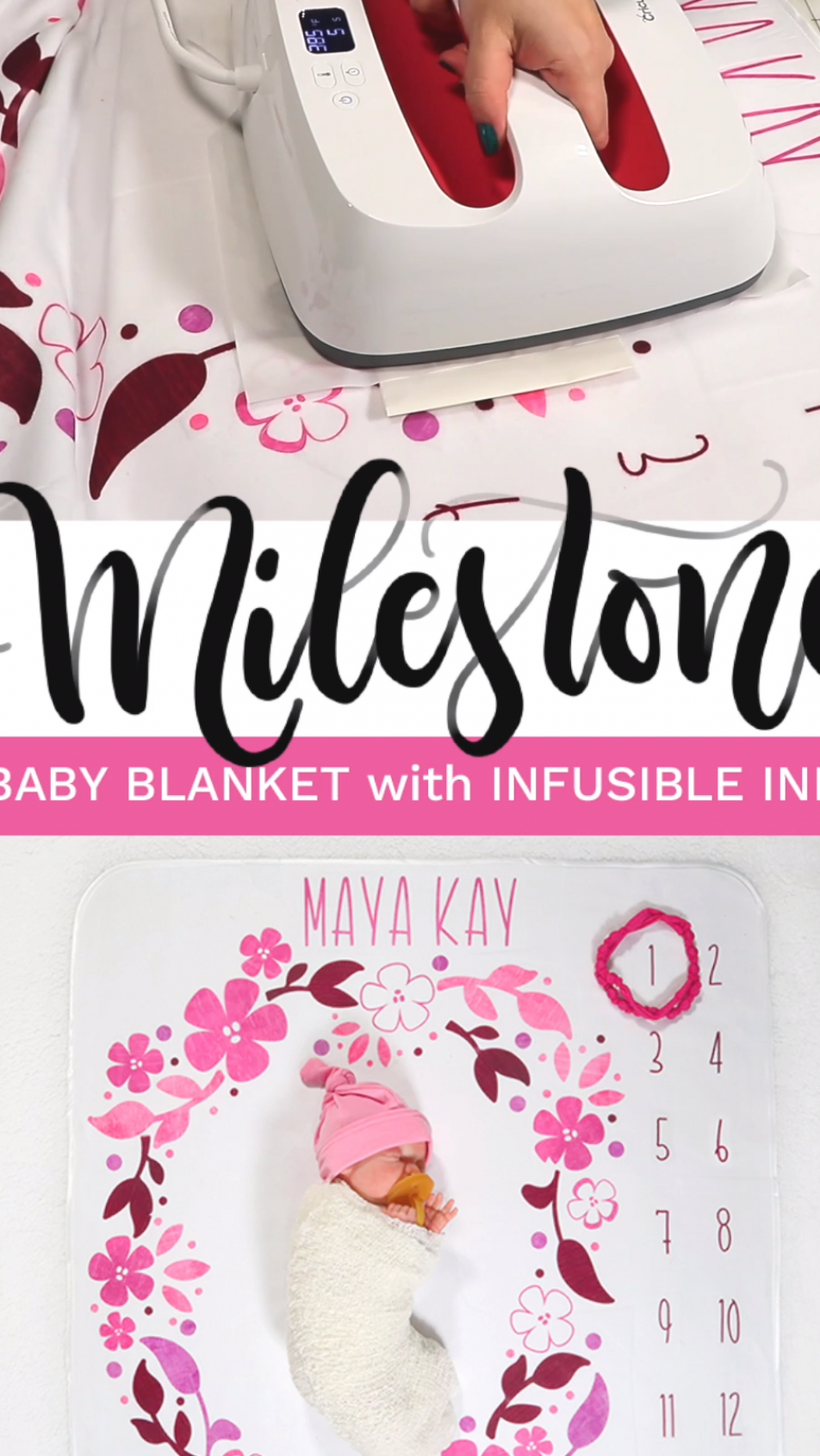 Learn how to make an adorable baby girl DIY milestone blanket using Cricut   s Infusible ink     Track the growth of your baby girl in her first year of life with this beautiful and easy to make swaddle  #cricutmade #infusibleink #ad  officialcricut #milestoneblanket #cricutcreated