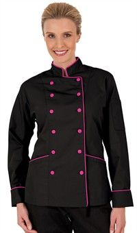 Style # 83315: BLACK W/ HOT PINK: Chaqueta de Chef Tradicional para Mujer - Botones Forrados en Tela - 100% Algodón