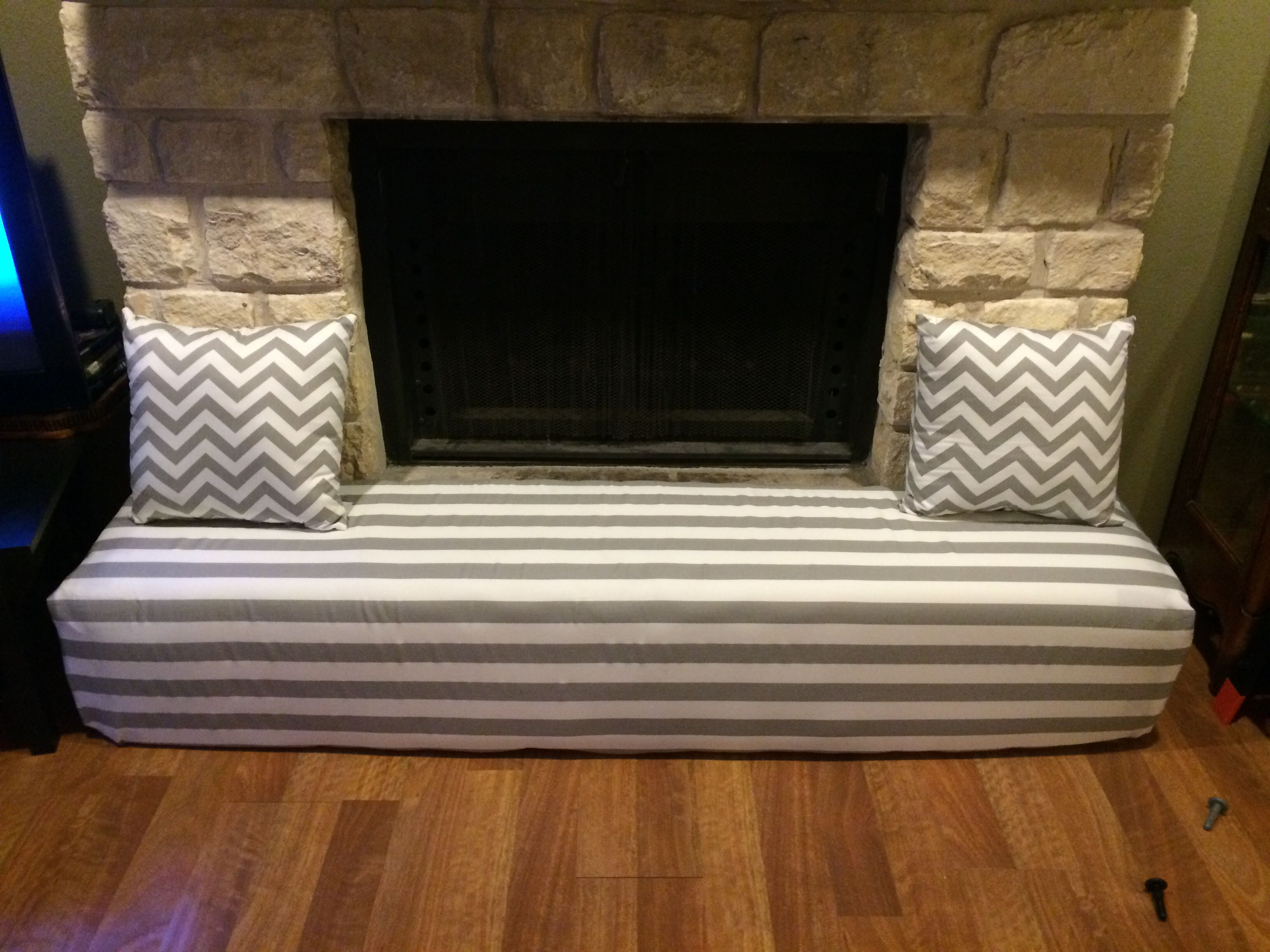 Fireplace cover - child proofing the stone hearth Gray and white ...