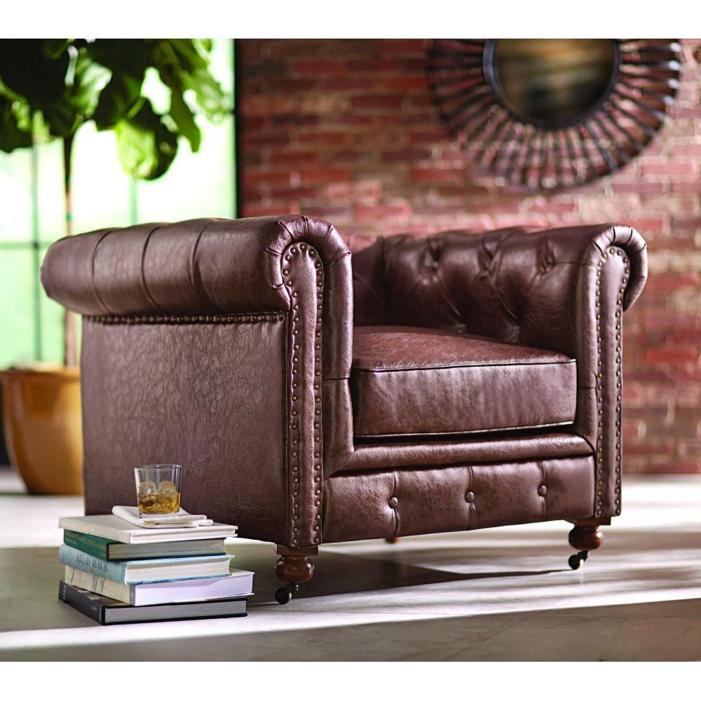Home Decorators Collection Gordon Blue Leather Arm Chair 0849600310 Best Leather Sofa Brown Leather Loveseat Tufted Chair