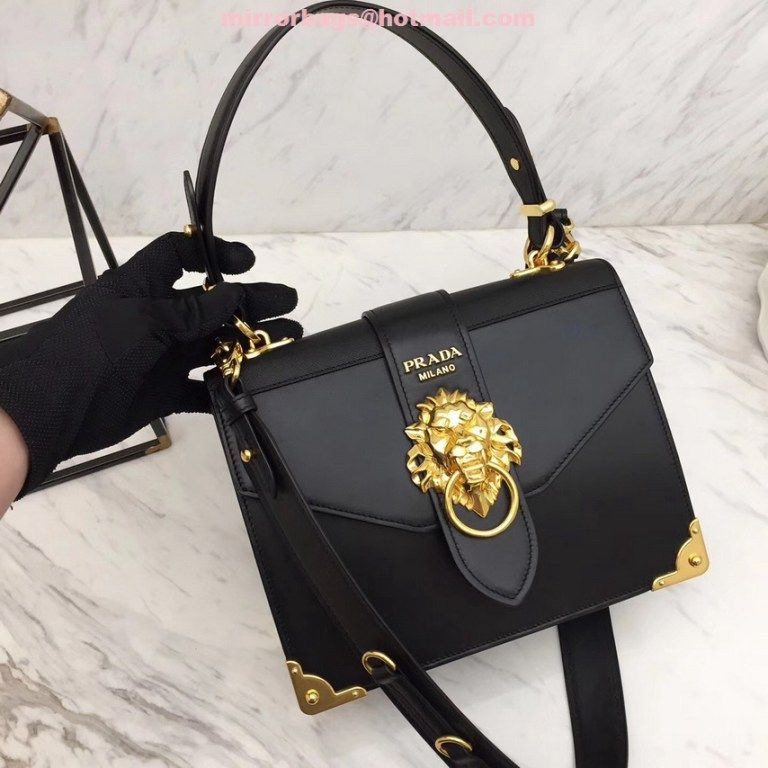 Replica Prada Lion Head Shoulder bag 1BA151 Black  6e9878996b773