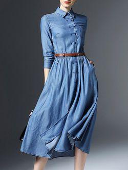 49997eb2d33 LOOOOVE!!!! Pockets Buttoned Denim Midi Dress with Belt …