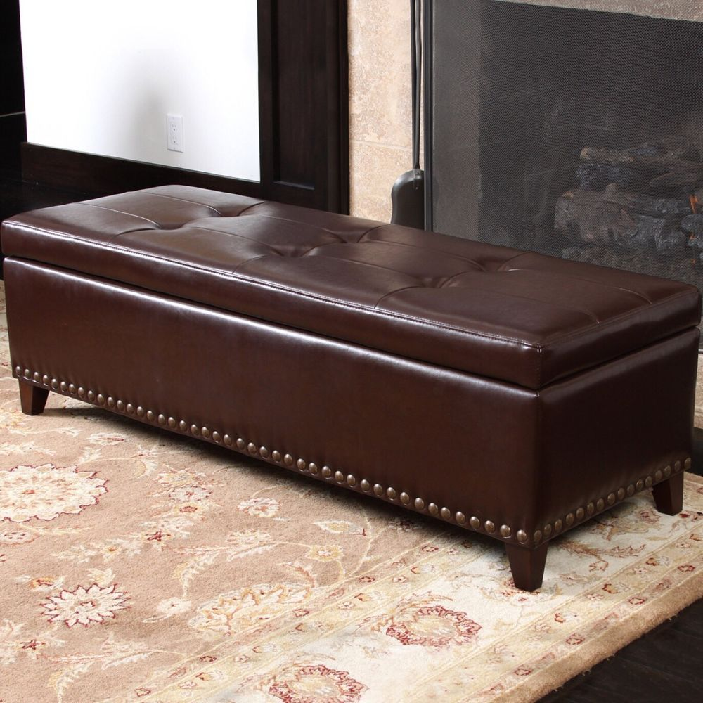Good Large Leather Bench Blanket Box Storage Brown Ottoman 4 Ft Long Seat Elegant