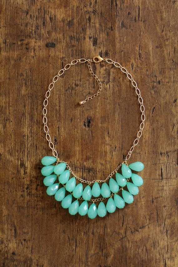 Seafoam Green Cluster Statement Necklace by shopnestled on Etsy, $40.00