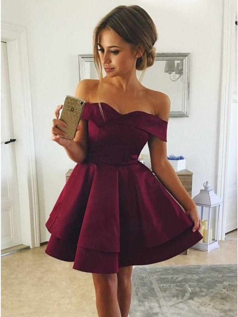 Cute off shoulder layered burgundy short prom dresses layered