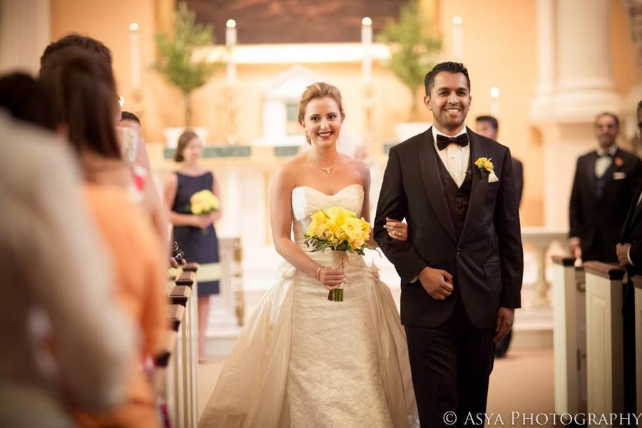Bright yellow & coral July wedding by Falls Flowers
