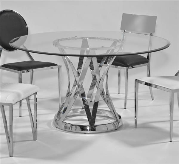 Janet Glass Steel 54 Inch Round 12mm 1 Inch Bevel Dining Table