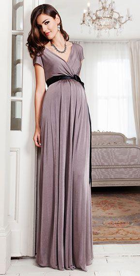 eae3c5dfa87b8 Alessandra Maternity Gown Long (Mink) by Tiffany Rose