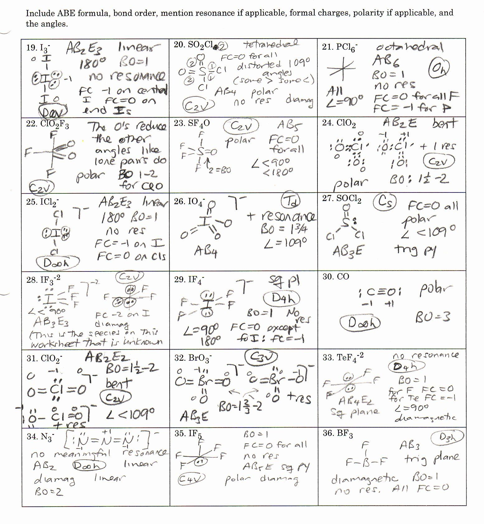 Chemistry Lewis Dot Structure Worksheet Answers