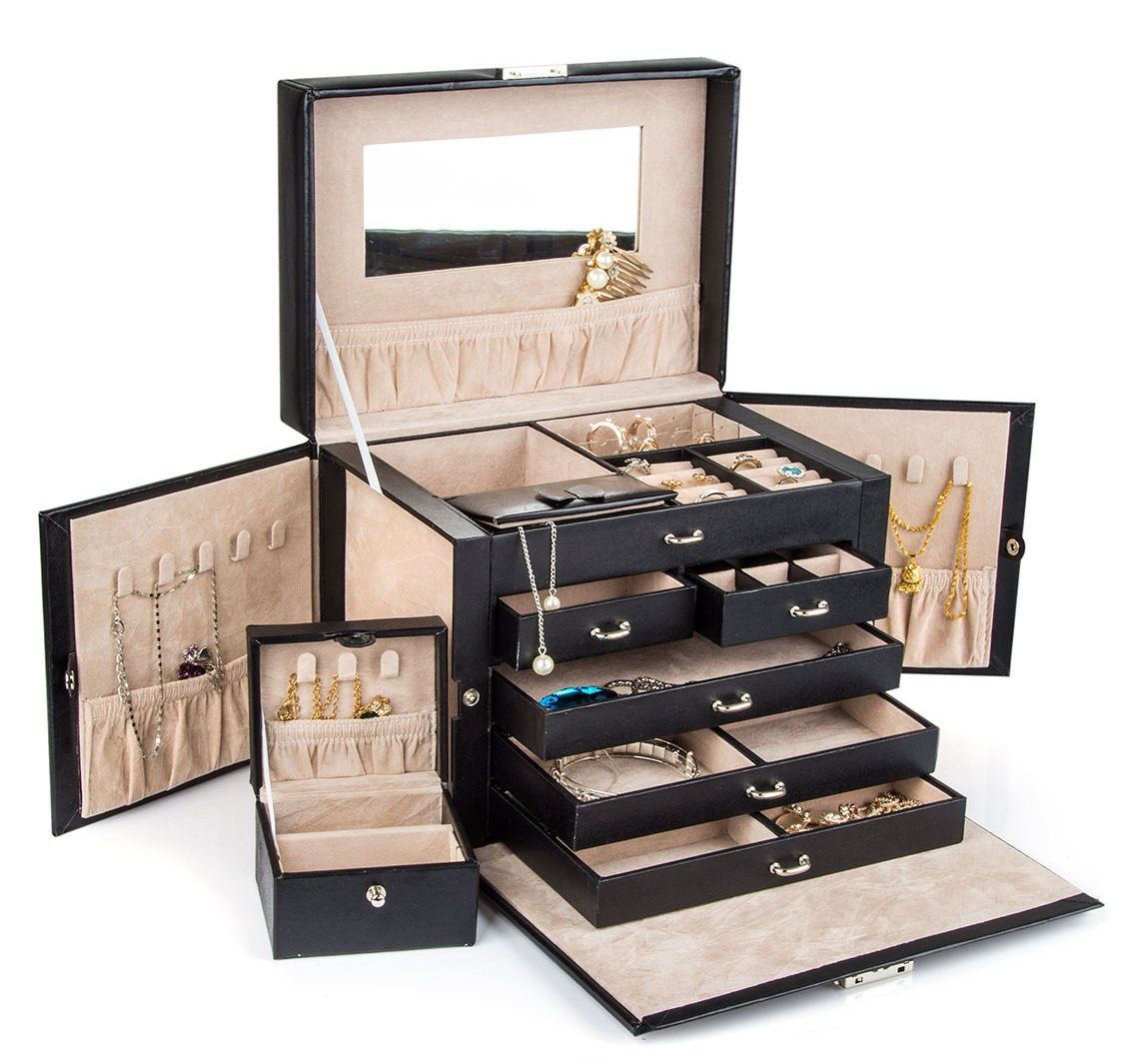 Black Leather Jewelry Box Travel Case And Lock Black Leather