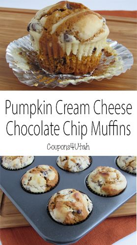 Pumpkin Cream Cheese Chocolate Chip Muffins. These are so moist and delicious. The perfect fall breakfast or snack. #pumpkinmuffins
