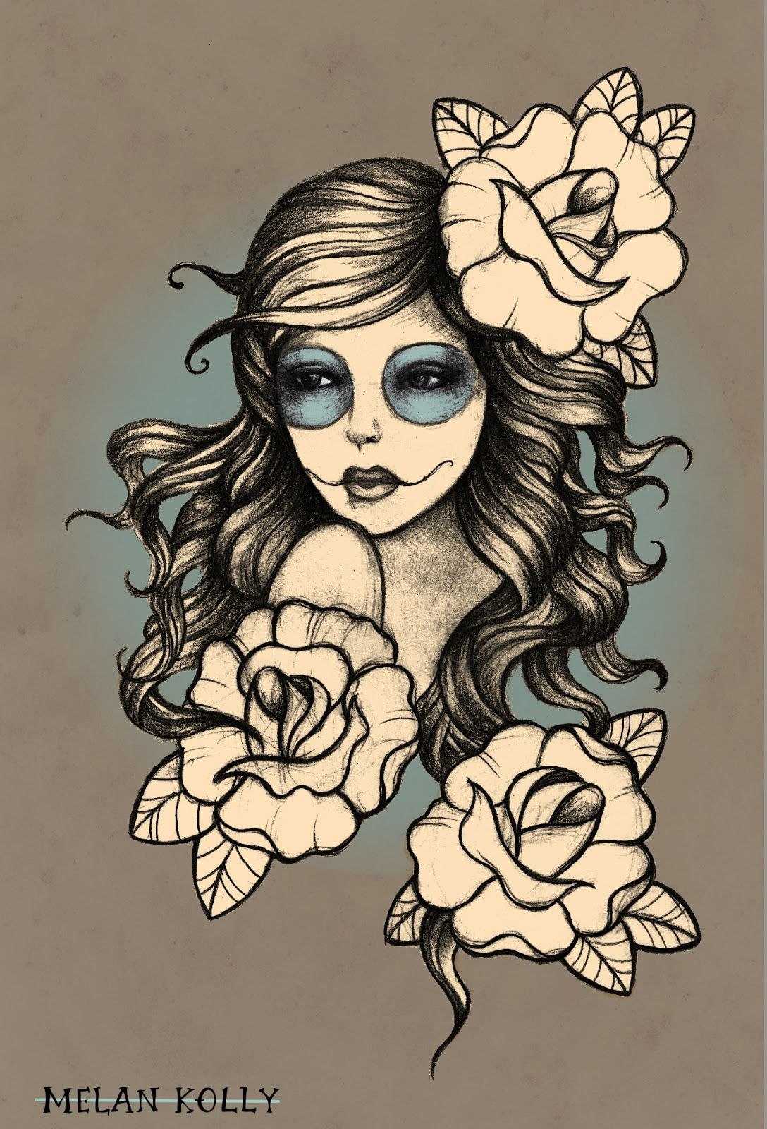 Tattoo websites for girls - Gypsy Girl With Roses Tattoo Design
