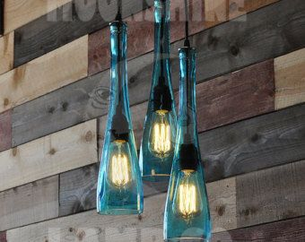 Recycled bottle chandelier the harmony 3 light teal araa recycled bottle chandelier the harmony 3 light by moonshinelamp aloadofball Gallery